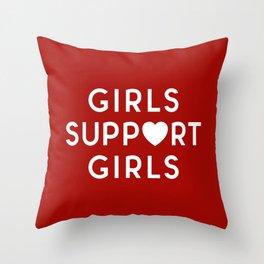 Girls Support Girls Feminist Quote Throw Pillow