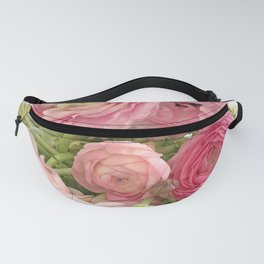Shabby Chic Cottage Ranunculus Peonies Roses Floral Print Home Decor Fanny Pack