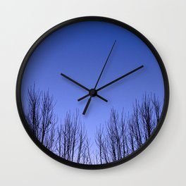 Blue hour twin trees Wall Clock
