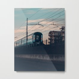 Sunset Train Street Photography Metal Print