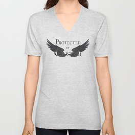 Protected by Castiel Black Wings Unisex V-Neck