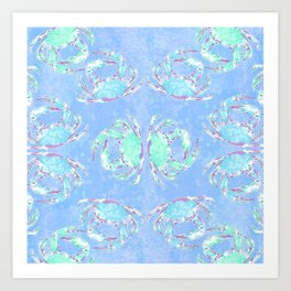 Watercolor blue crab Art Print