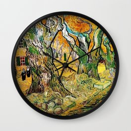 Road Works at Saint-Remy by Vincent van Gogh Wall Clock