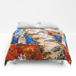 BIRCHES IN RED Comforters