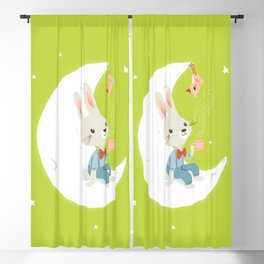 Little rabbit on the moon Blackout Curtain