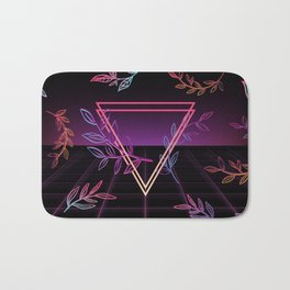 Synthwave Leaves Aesthetic Bath Mat