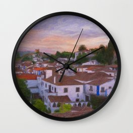 The walled town of Obidos, Portugal Wall Clock