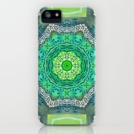 Octagon Kaleidoscope Flower in Green Turquoise and Gray iPhone Case