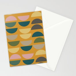 Geometric Graphic Design Shapes Pattern in Mustard Yellow Stationery Cards