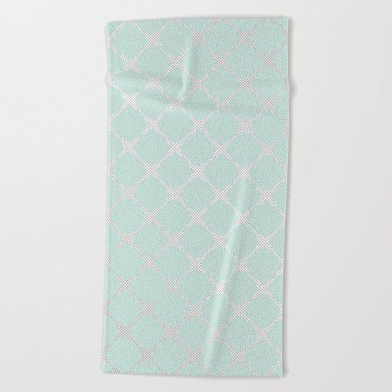 Polka Dots & Mint Tiles Beach Towel