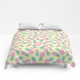 Pink pastel pineapple Comforters