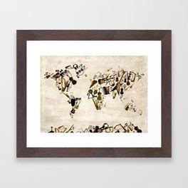 world map music Framed Art Print