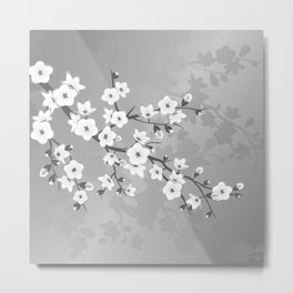 Only Gray Cherry Blossom Metal Print