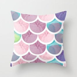Mermaid Scales In Watercolor Pinks, Purples, And Teals Throw Pillow