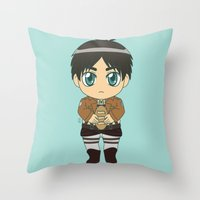 shingeki no kyojin Throw Pillows featuring Shingeki no Kyojin - Chibi Eren Flats by Tenki Incorporated