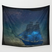 ships Wall Tapestries featuring Ships and Stars by AmandaRoyale
