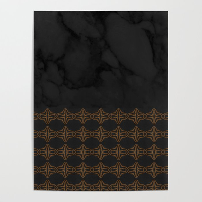 Black Marble with Bronze DecalPattern Poster
