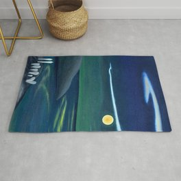 Island Moon before the World coastal island landscape painting by Marguerite Blasingame Rug