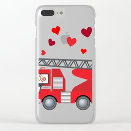 Valentine's Day Firetruck Hearts Gift Kids Boys Clear iPhone Case