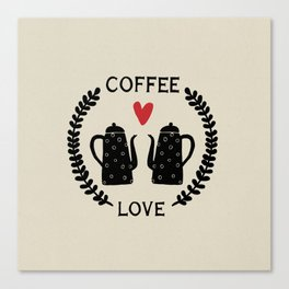Coffee Love coffee pots with heart and vine Canvas Print