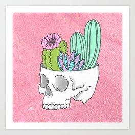 Succulent cactus garden flower pastel skull Art Print