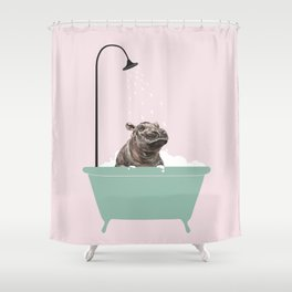 Hippo Enjoying Bubble Bath Shower Curtain