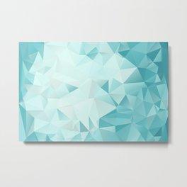 "Polygon Geometric Abstract Design ""Key West"" -Aqua, Turquoise Metal Print"