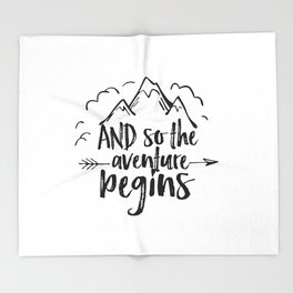 INSPIRATIONAL Quote,And So The Adventure Begins,Adventure Awaits,Kids Room Decor,Nursery Art Throw Blanket