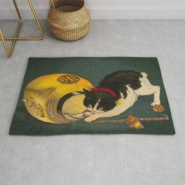 Kobayashi Kiyochika Black & White Cat Fluffy Cat Japanese Lantern Vintage Woodblock Print Rug