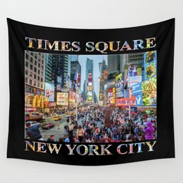 Times Square Sparkle (with type on black) Wall Tapestry