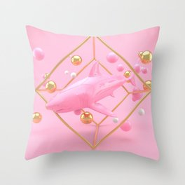 Shark in pink - Animal Display 3D series Throw Pillow