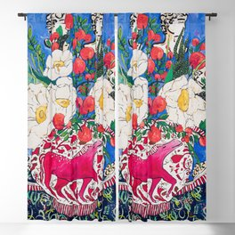 Horse Urn with Tiny Apples and Matilija Queen of California Poppies Floral Still Life Blackout Curtain