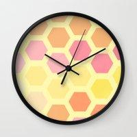 honeycomb Wall Clocks featuring Honeycomb by MisfitIsle