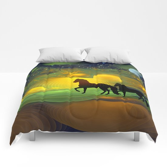 Awakening, Mysterious mixed media art with horses Comforters