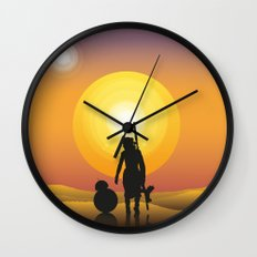 Walking under two suns Wall Clock