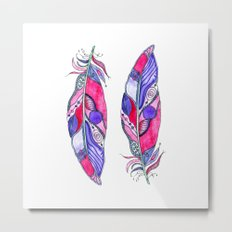 Bohemian Spirit Feathers - Magenta & Violet Metal Print