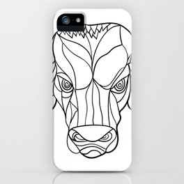 Brahma Bull Head Mosaic Black and White iPhone Case