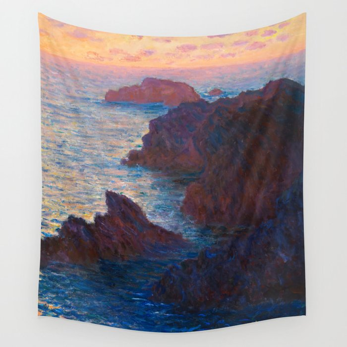 Claude Monet Impressionist Landscape Oil Painting Sunset At Sea Cliffs Ocean Cliff Landscape Wall Tapestry