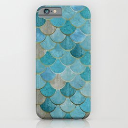 Moroccan Fish Scale Mermaid Pattern, Teal Blue and Gold iPhone Case