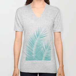 Soft Turquoise Palm Leaves Dream - Cali Summer Vibes #1 #tropical #decor #art #society6 Unisex V-Neck