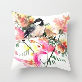 Chickadee bird art design, Birds and Flowers Throw Pillow