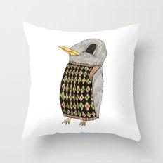 Baby Raven In Argyle Throw Pillow