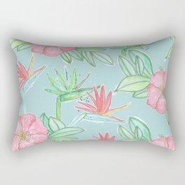 Tropical Flowers Soft Blue Background Rectangular Pillow
