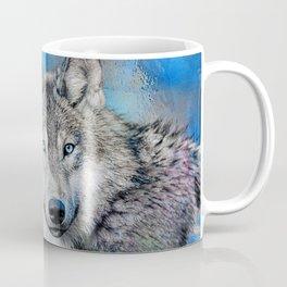 Blue Wolf Wildlife Mixed Media Art Coffee Mug