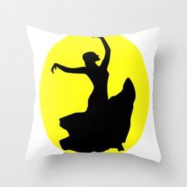 Flamenco Dancer Black, Sun Throw Pillow