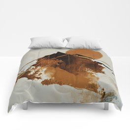 abstract mountains, rustic orange sunrise Comforters