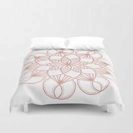 Mandala Flowery Vine Rose Gold on White Duvet Cover