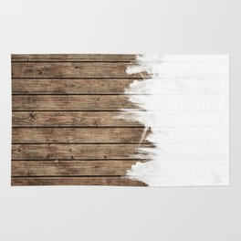 White Abstract Paint on Brown Rustic Striped Wood Rug