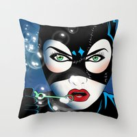 catwoman Throw Pillows featuring Catwoman by mark ashkenazi