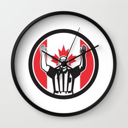 Canadian Football Referee Canada Flag Icon Wall Clock
